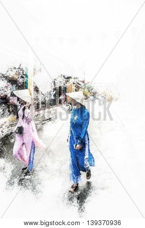 Two asian female tourists in historical vietnamese clothes walk on a street in Hoi An, Vietnam. Vintage painting, background illustration, beautiful picture, travel texture