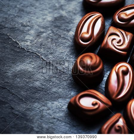 Chocolate candies with copyspace close up macro