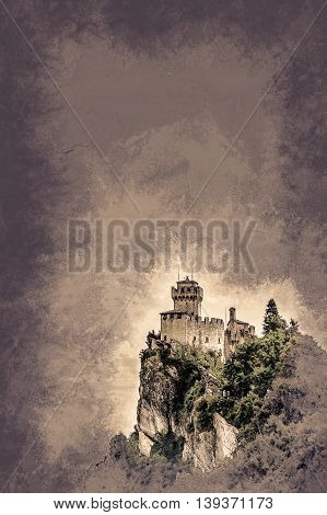 Beautiful view of the medieval fortress De La Fratta or Cesta overlooking the green hills of San Marino republic. Vintage painting, background illustration, beautiful picture, travel texture