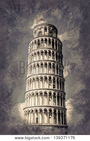 View of Leaning tower, Piazza dei miracoli, Pisa, Italy. Vintage painting, background illustration, beautiful picture, travel texture