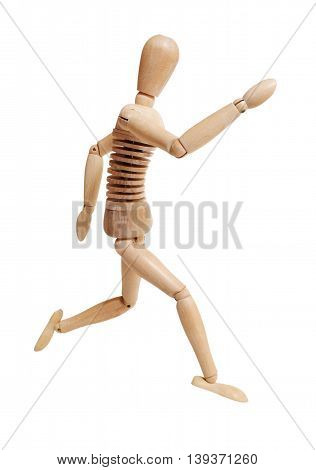 Wooden mannequin running isolated on white background