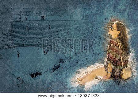 girl in sunglasses at sunset in Aspendos amphitheatre, Antalya, Turkey. Modern painting, background illustration.