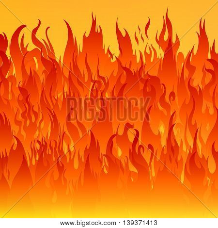 Flames of fire on a yellow background.