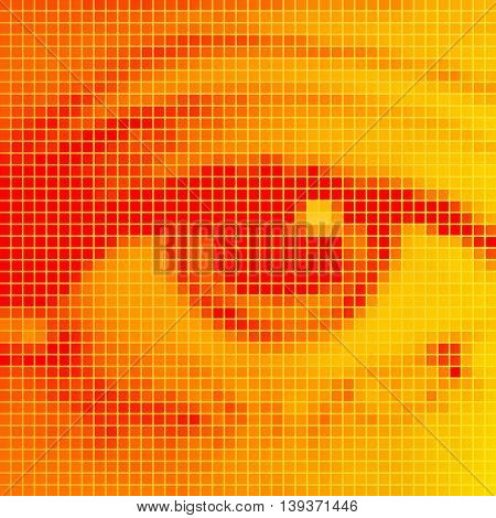 The human eye close-up. Orange pixel effect.