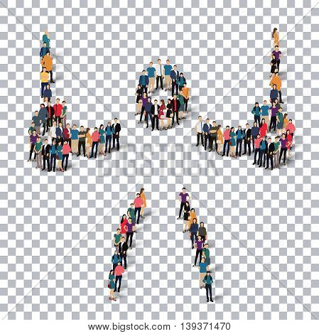 Isometric set of styles, people, sports, gymnastics, web infographics concept of a crowded square, flat 3d. Crowd point group forming a predetermined shape. Creative people.  illustration. Stock .3D illustration. transparent background