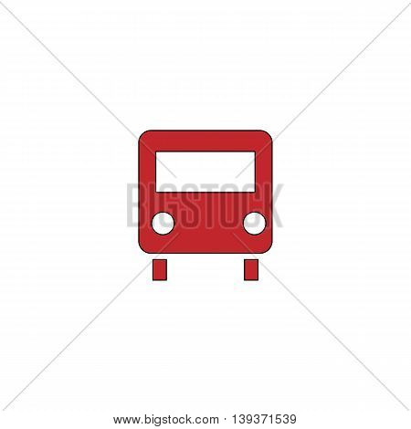 Bus. Red flat simple modern illustration icon with stroke. Collection concept vector pictogram for infographic project and logo