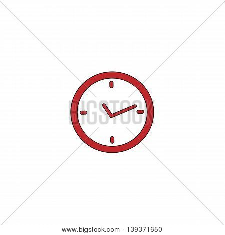 Watch. Red flat simple modern illustration icon with stroke. Collection concept vector pictogram for infographic project and logo