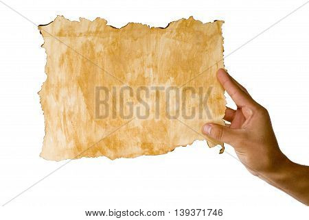 hands holding coffee stained paper with a white background