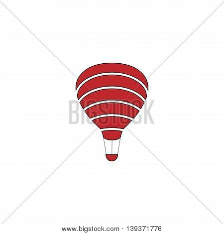 Sky balloon. Red flat simple modern illustration icon with stroke. Collection concept vector pictogram for infographic project and logo