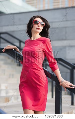 Sexy Slim Lady In Red Dress