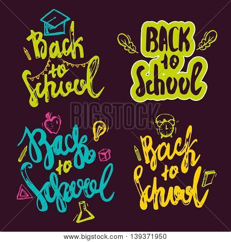 Back to School lettering hand drawn design. Colorful Label Set isolated on dark background with apple, book, pencil