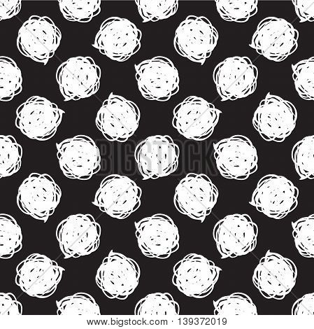 Vector seamless modern messy polka dot pattern. Messy ink dry brush background. Black and white artistic print. Great for decor wrapping paper wallpaper