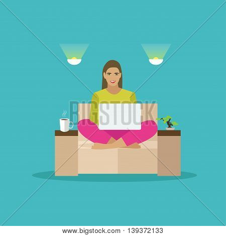 Female freelancer working remotely from her room. Freelance concept vector illustration in flat style.