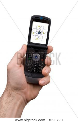 Man Holding Cell Phone With Nucleus