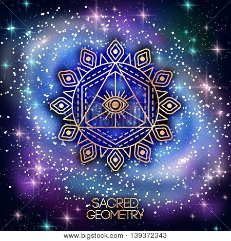 Sacred Geometry Emblem with Eye in Triangle on Shining Galaxy Space Background. Vector illustration. Geometric Logo Design. Alchemy Symbol, Occult and Mystic Sign.