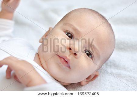 Beautiful cute baby face close up,portrait close up