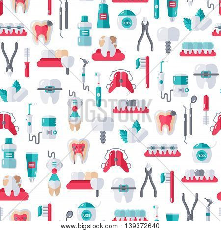 Seamless Dentist Equipment Pattern on White Background. Vector Illustration. Dental and Orthodontics Tools, Teeth.