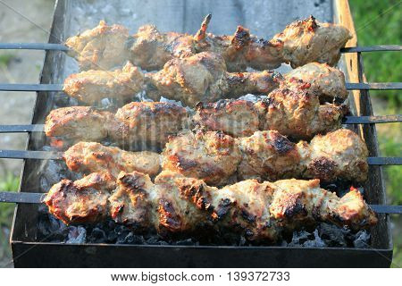 Grilling shashlik on barbecue grill. Pork barbeque.