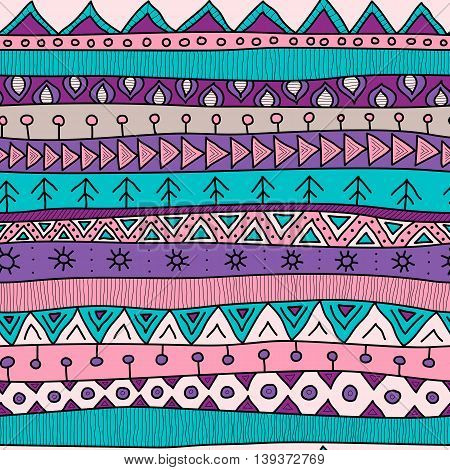 Tribal Multicolor Seamless Pattern, Indian Or African Ethnic Patchwork Style