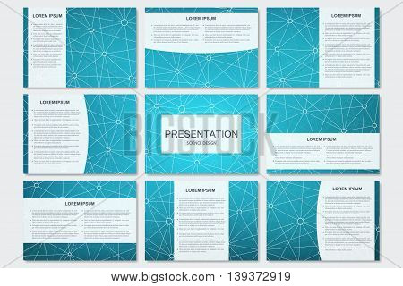 Set of modern business presentation templates in A4 size. Connection structure. Abstract background with molecule structure DNA and neurons.