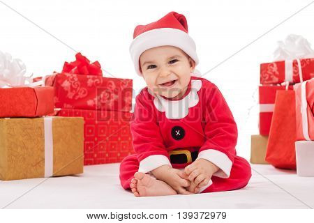 Smiling Happy Beautiful Baby With Presents