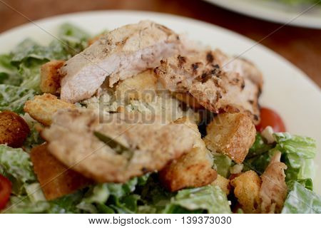Chicken caesar salad served on a white plate