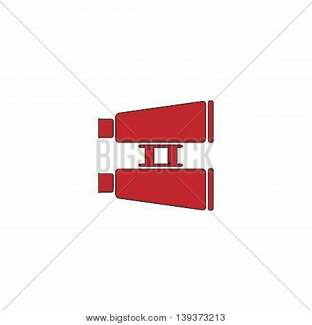 Binocular. Red flat simple modern illustration icon with stroke. Collection concept vector pictogram for infographic project and logo