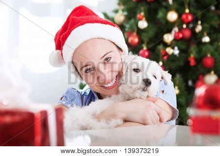 Cute Girl And Her Dog And Lovely Hug For Christmas