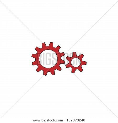 Two gears. Red flat simple modern illustration icon with stroke. Collection concept vector pictogram for infographic project and logo
