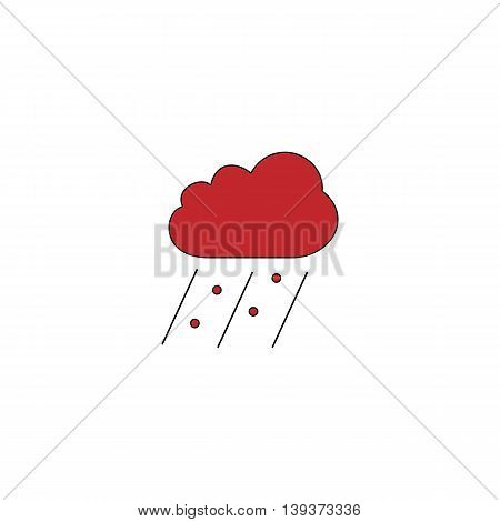 Cloud it is raining and hail. Red flat simple modern illustration icon with stroke. Collection concept vector pictogram for infographic project and logo