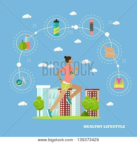 Running woman sport fitness concept vector illustration in flat style. Design elements and icons. Healthy lifestyle.