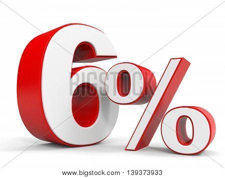 Discount 6 percent off sale. 3D illustration.