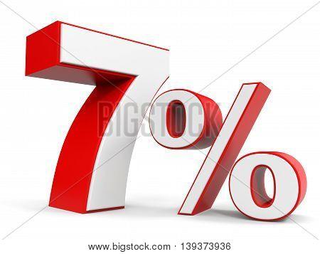 Discount 7 percent off sale. 3D illustration.
