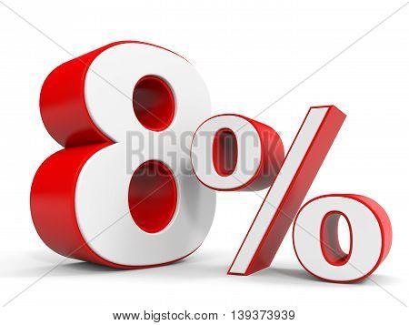 Discount 8 percent off sale. 3D illustration.