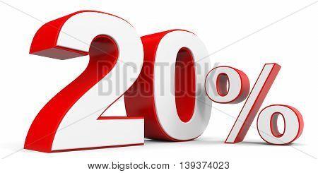 Discount 20 percent off sale. 3D illustration.