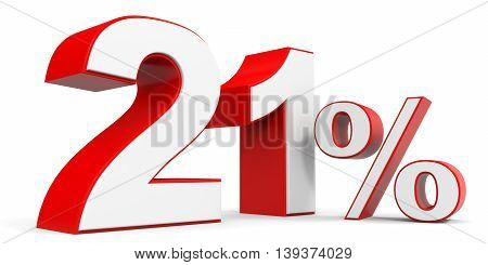 Discount 21 percent off sale. 3D illustration.