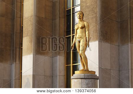 PARIS, FRANCE - MAY 12, 2015: This is one of the sculptures located on the Trocadero at the Palais de Chaillot.