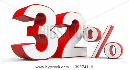 Discount 32 percent off sale. 3D illustration.