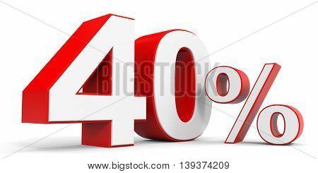 Discount 40 percent off sale. 3D illustration.