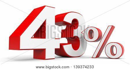Discount 43 percent off sale. 3D illustration.
