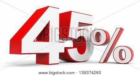 Discount 45 percent off sale. 3D illustration.