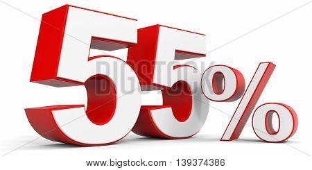Discount 55 percent off sale. 3D illustration.