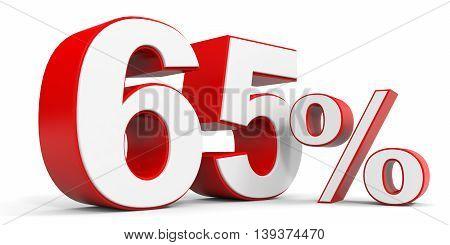 Discount 65 percent off sale. 3D illustration.