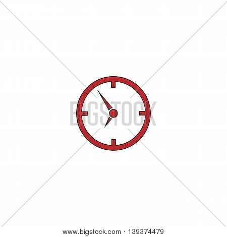 Circle Clock. Red flat simple modern illustration icon with stroke. Collection concept vector pictogram for infographic project and logo