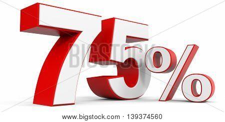 Discount 75 percent off sale. 3D illustration.