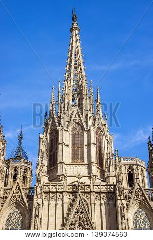 Cathedral of the Holy Cross and Saint Eulalia patron saint of Barcelona in Catalonia Spain.