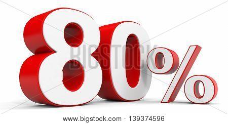 Discount 80 percent off sale. 3D illustration.