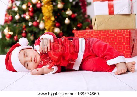 Baby Boy Santa Sleeping