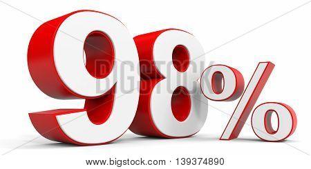 Discount 98 percent off sale. 3D illustration.
