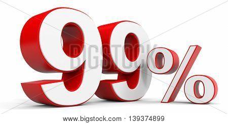 Discount 99 percent off sale. 3D illustration.